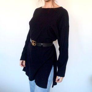 Carole Little x St. Tropez West navy wool sweater